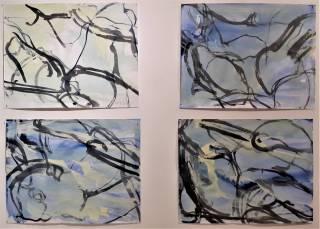 détrempe sur papier,4x (50x 65 cm) , 2017